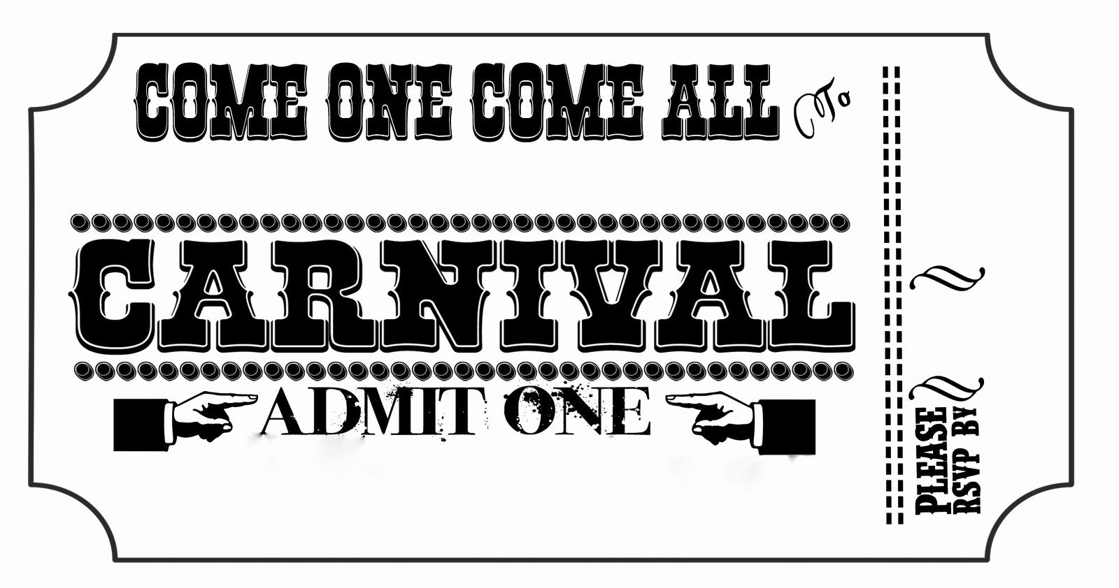 Carnival Ticket Invitation Template Unique Carnival Tickets Templates Free Printable