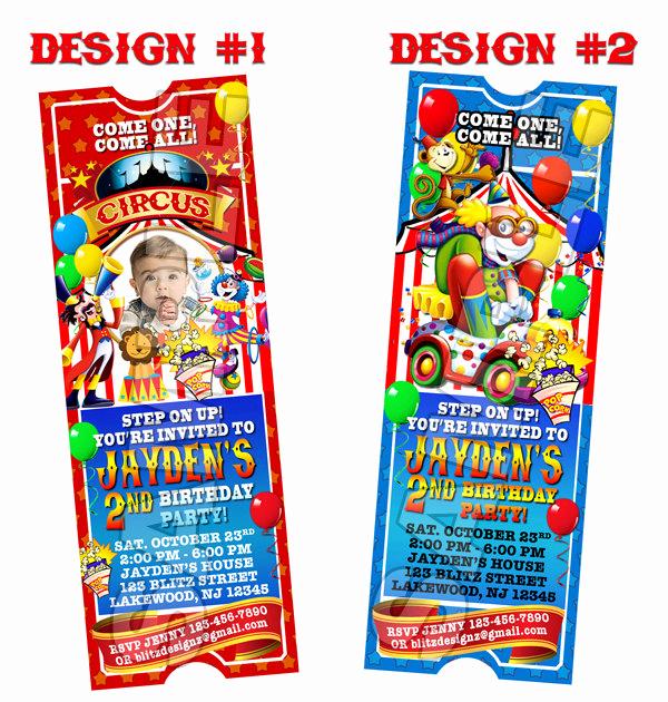 Carnival Ticket Invitation Template Unique Circus Carnival Birthday Party Ticket Invitations