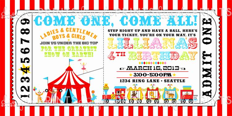 Carnival Ticket Invitation Template Unique Circus Ticket Birthday Party Invite Dimple Prints Shop
