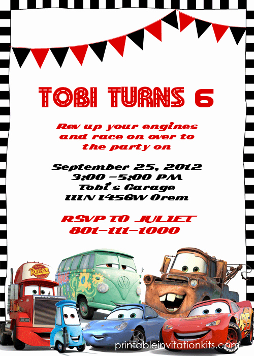 Cars Invitation Template Free Fresh Disney Cars Birthday Invitation Free Template