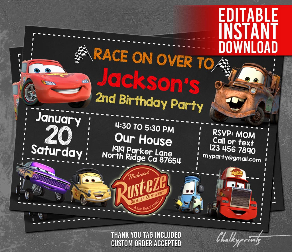 Cars Invitation Template Free Fresh Disney Cars Invitation Instant Download Disney Cars
