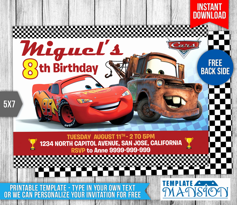 Cars Invitation Template Free New Disney Cars Birthday Invitation 1 by Templatemansion On