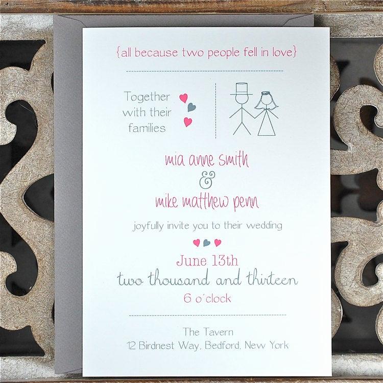 Casual Wedding Invitation Wording Awesome Casual Wedding Invitations Casual Wedding Stick Figure