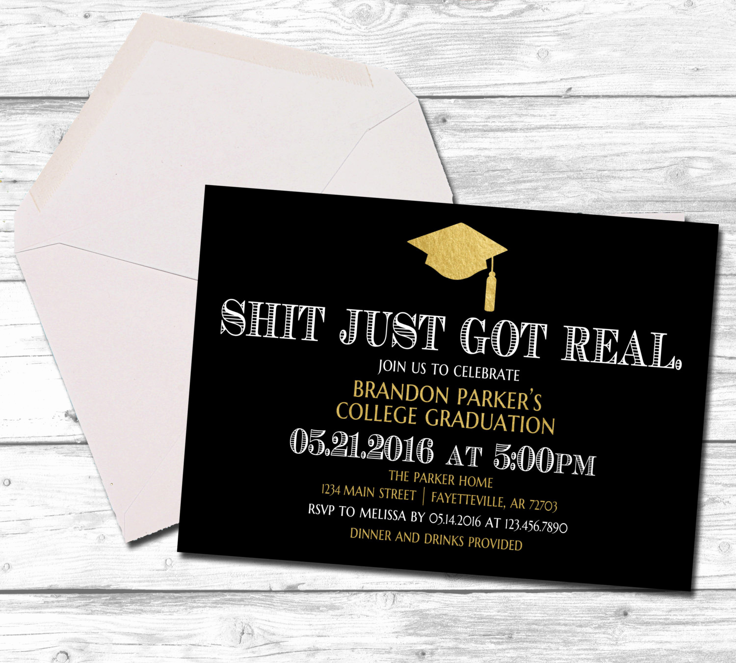 Catchy Graduation Invitation Phrases Beautiful Graduation Graduation Invitation Shit Just Got Real Black