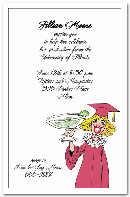 Catchy Graduation Invitation Phrases Luxury Blonde Girl & Margarita Graduation Party Party Invitations