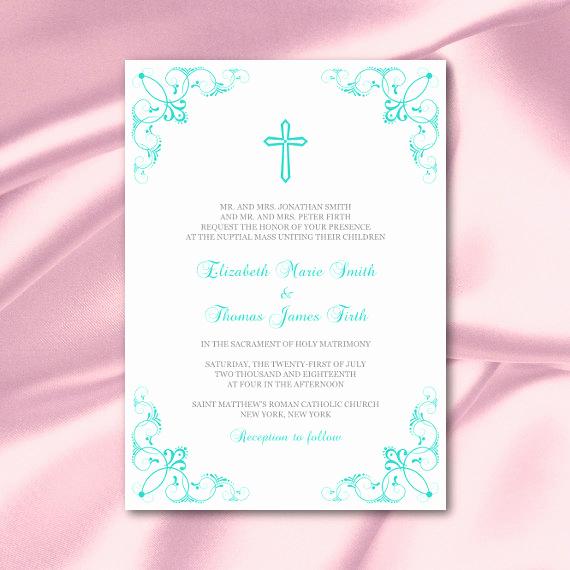 Catholic Wedding Invitation Wording Beautiful Catholic Wedding Invitation Template Turquoise Cross Invites