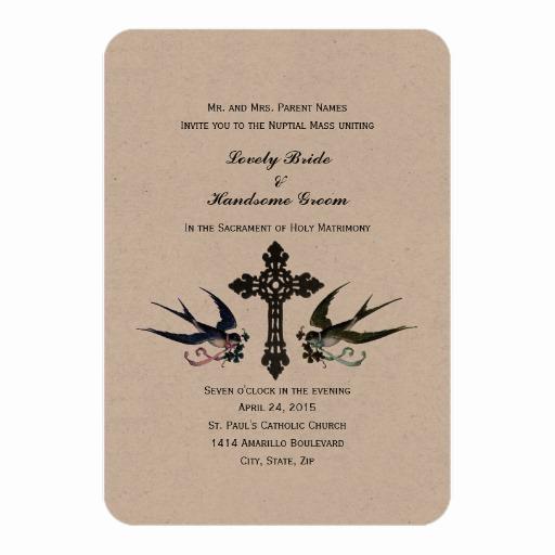 Catholic Wedding Invitation Wording Beautiful Vintage Birds Catholic Small Wedding Invitation