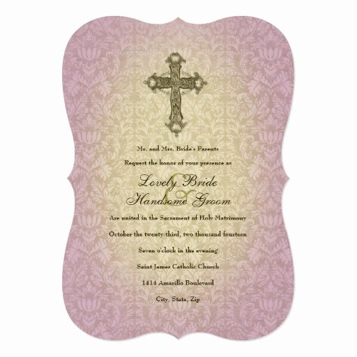 Catholic Wedding Invitation Wording Best Of Glowing orchid Catholic Cross Wedding Invitation