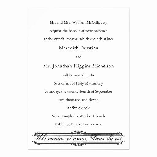Catholic Wedding Invitation Wording Elegant Ubi Caritas Et Amor Catholic Wedding Invitation 13 Cm X 18