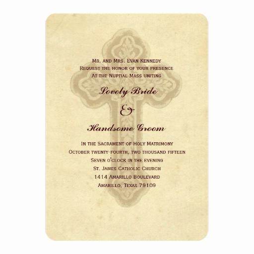 Catholic Wedding Invitation Wording Fresh Antique Brown Cross Catholic Wedding Invitation
