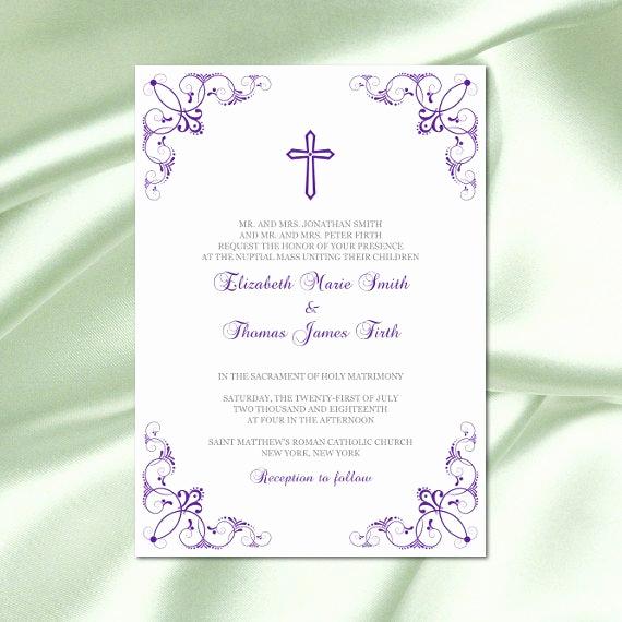 Catholic Wedding Invitation Wording Fresh Catholic Wedding Invitation Template Diy Printable Purple