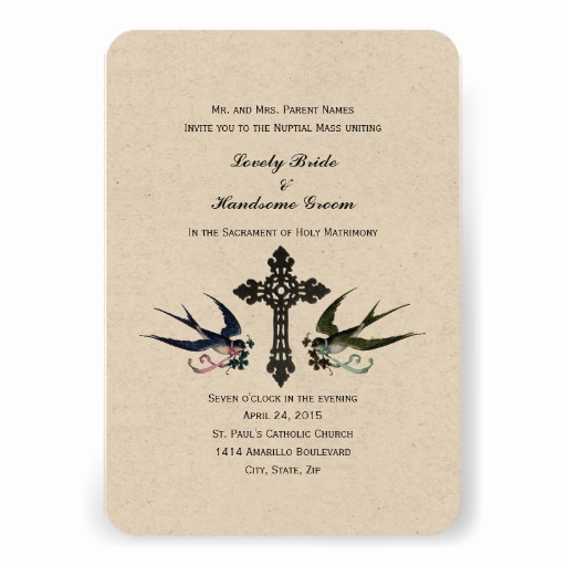 """Catholic Wedding Invitation Wording New Vintage Birds Catholic Small Wedding Invitation 3 5"""" X 5"""