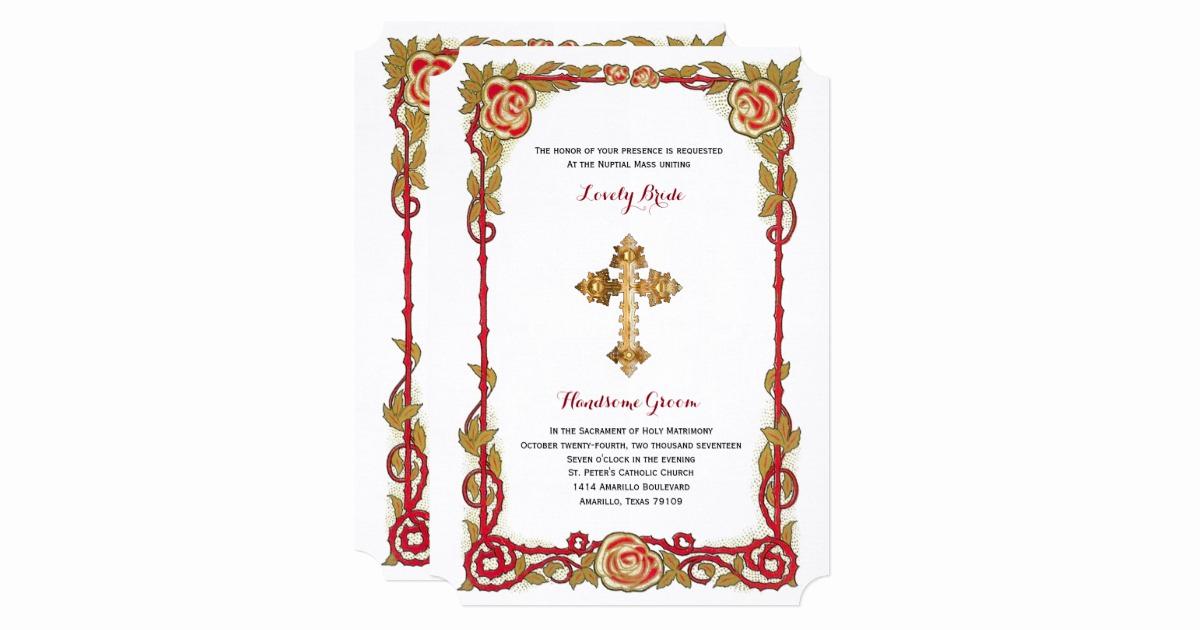 Catholic Wedding Invitation Wording Unique Vintage Rose Cross Catholic Wedding Invitation