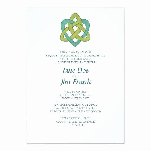 Catholic Wedding Invitation Wordings Lovely Celtic formal Catholic Wedding Invitation