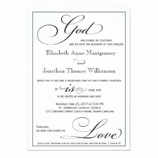 Catholic Wedding Invitation Wordings Luxury God is Love Christian Script Wedding Invitation