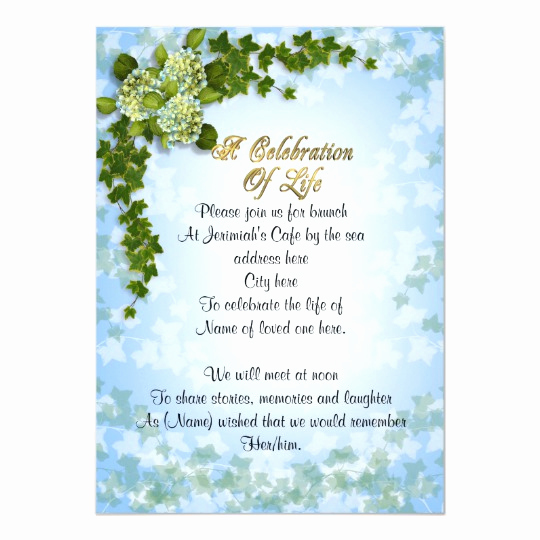 Celebration Of Life Invitation Beautiful Celebration Of Life Invitation Ivy and Flowers