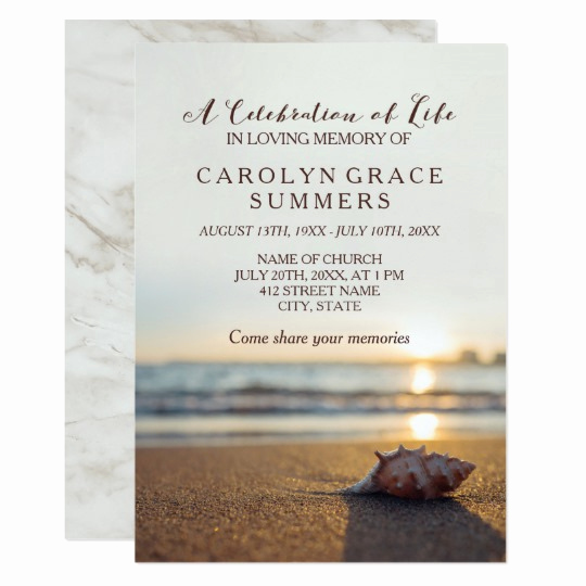 Celebration Of Life Invitation Best Of Conch On Beach Celebration Of Life Invitation