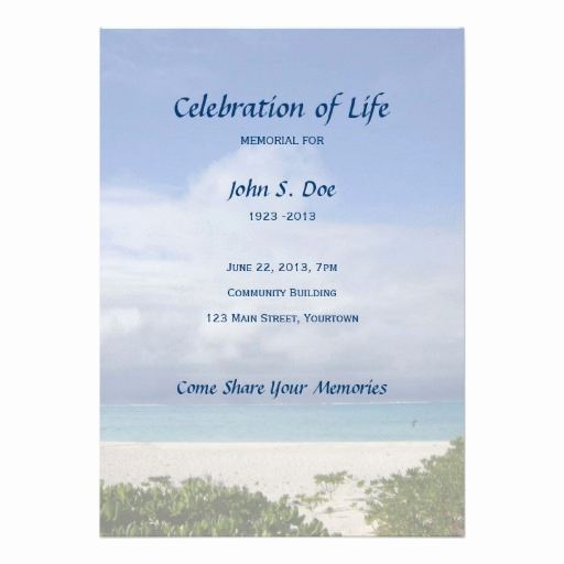Celebration Of Life Invitation Best Of Memorial Celebration Of Life Beach Scene 13 Cm X 18 Cm