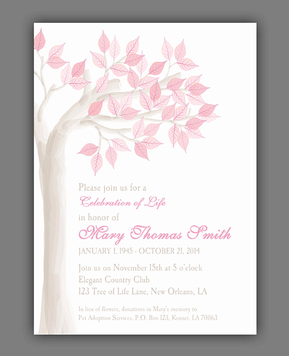 Celebration Of Life Invitation Elegant Elegant Tree Celebration Of Life Invitation Printable or