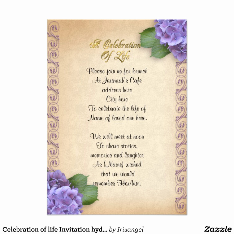Celebration Of Life Invitation Ideas Best Of Celebration Of Life Invitation Hydrangea