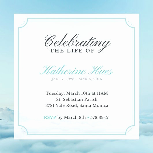 Celebration Of Life Invitation Ideas Best Of Sky Celebration Of Life Invitation Templates by Canva