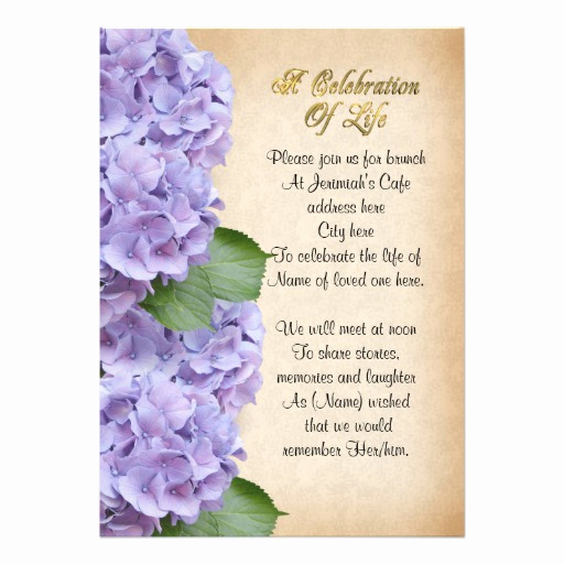 "Celebration Of Life Invitation Ideas Fresh Celebration Of Life Invitation Hydrangea 5"" X 7"