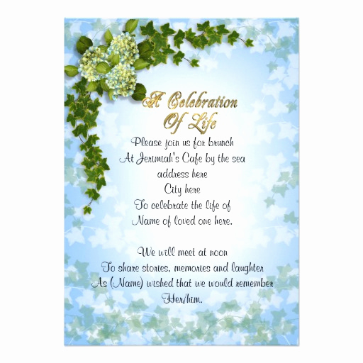 "Celebration Of Life Invitation Ideas Inspirational Celebration Of Life Invitation Ivy and Flowers 5"" X 7"