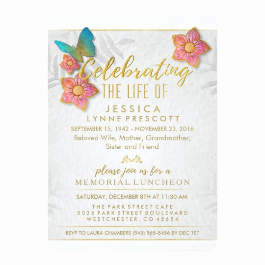 Celebration Of Life Invitation Ideas Lovely Celebration Of Life butterfly Luncheon Invite