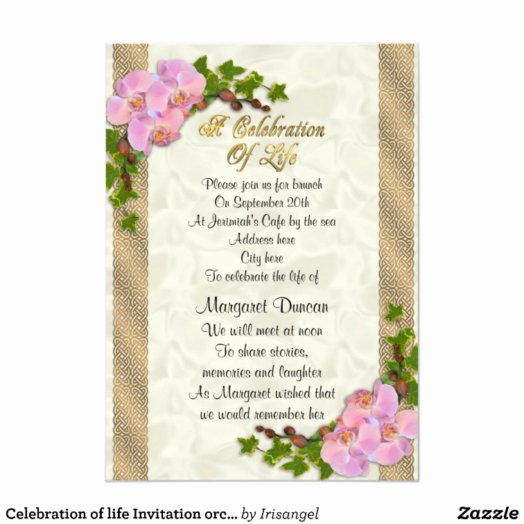 Celebration Of Life Invitation Ideas New Celebration Of Life Invitation orchids