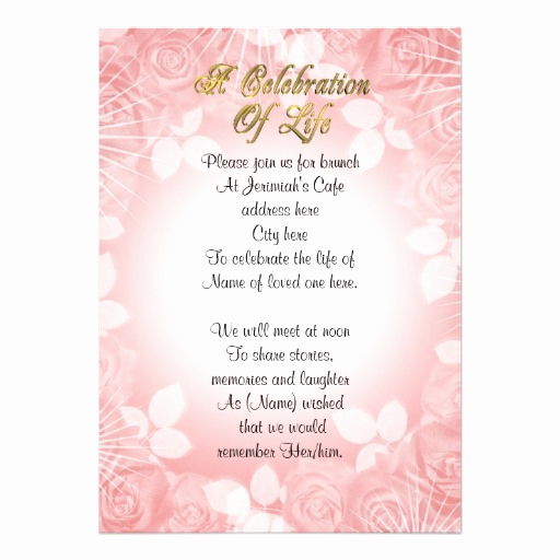 Celebration Of Life Invitation Inspirational Celebration Of Life Invitation Pink Floral