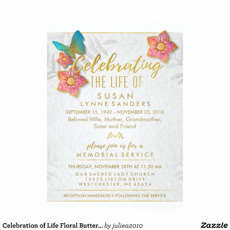 Celebration Of Life Invitation Lovely Celebration Of Life Floral butterfly Invitation