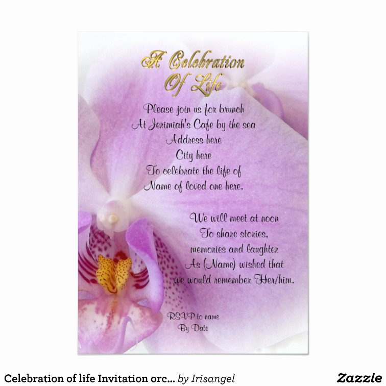 Celebration Of Life Invitation Lovely Celebration Of Life Invitation orchid