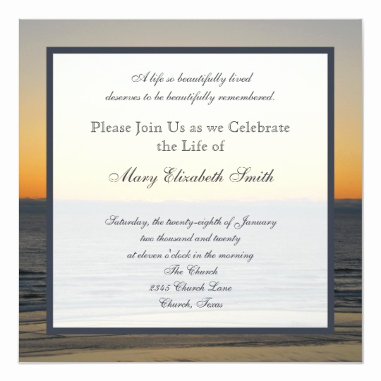 Celebration Of Life Invitation Luxury Celebration Of Life Invitation