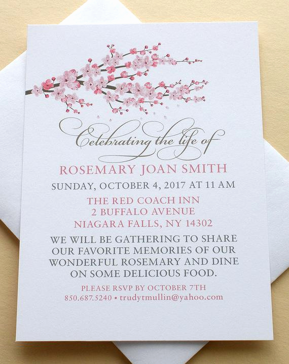 Celebration Of Life Invitation New Celebration Of Life Invitations with A Branch Of Pink Blossoms