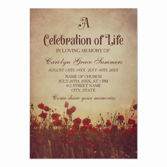 Celebration Of Life Invitation Template Awesome Rustic Poppy Field Celebration Of Life Invitation