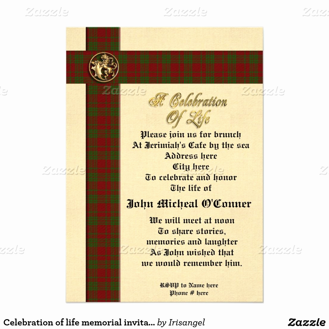 "Celebration Of Life Invitation Template Best Of Celebration Of Life Memorial Invitation for Man 5"" X 7"