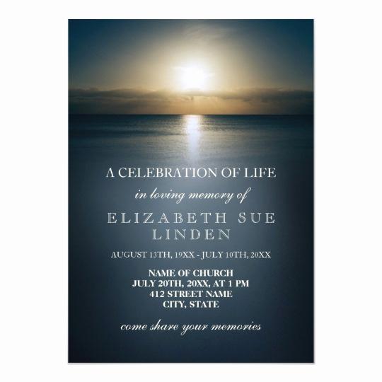 Celebration Of Life Invitation Template Elegant Celebration Of Life Sun Over the Ocean Card