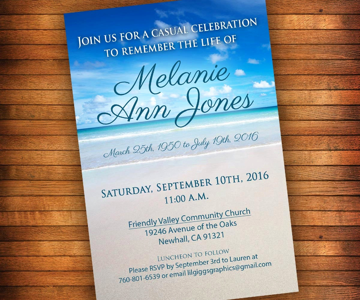 Celebration Of Life Invitation Template Luxury Celebration Of Life Invitation Beach Memorial Invitation