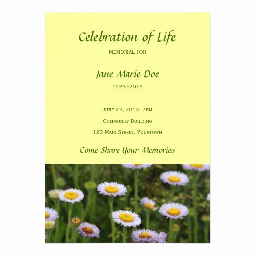 Celebration Of Life Invitation Template Luxury Memorial Celebration Of Life Flowers Personalized