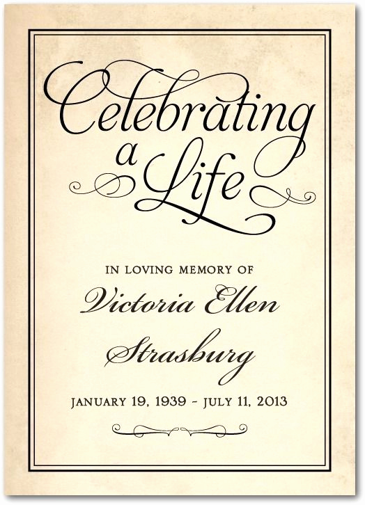 Celebration Of Life Invitation Template New Celebrating A Life Prayer Cards In Black or Sienna Brown