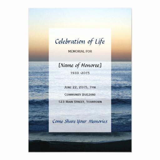 Celebration Of Life Invitation Template New Ocean Memorial Celebration Of Life Card