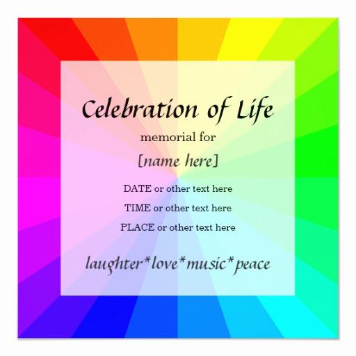 Celebration Of Life Invitation Template New Rainbow Celebration Of Life Memorial Invitation
