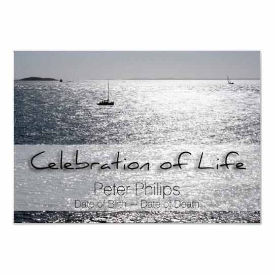 Celebration Of Life Invitation Template New Sea Boat Celebration Of Life Funeral Announcement