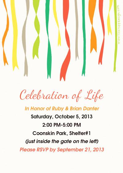 Celebration Of Life Invitation Template Unique Celebration Of Life Ruby & Brian Danter Line