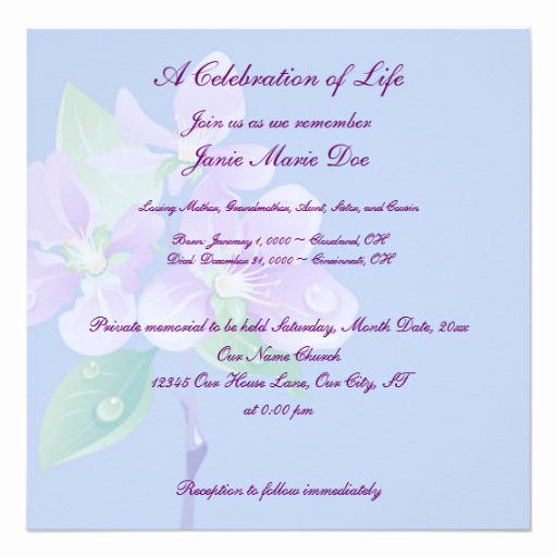 Celebration Of Life Invitation Unique Celebration Of Life 5 25x5 25 Square Paper Invitation Card