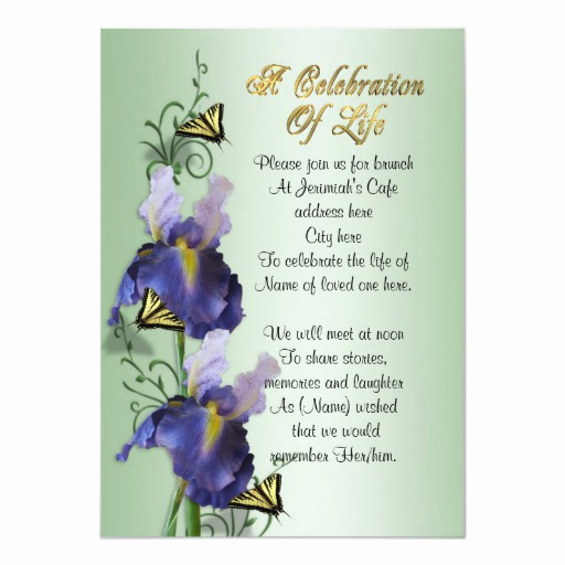 "Celebration Of Life Invitation Unique Celebration Of Life Invitation Iris and butterfly 5"" X 7"