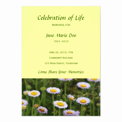 Celebration Of Life Invitation Unique Memorial Celebration Of Life Flowers 5x7 Paper