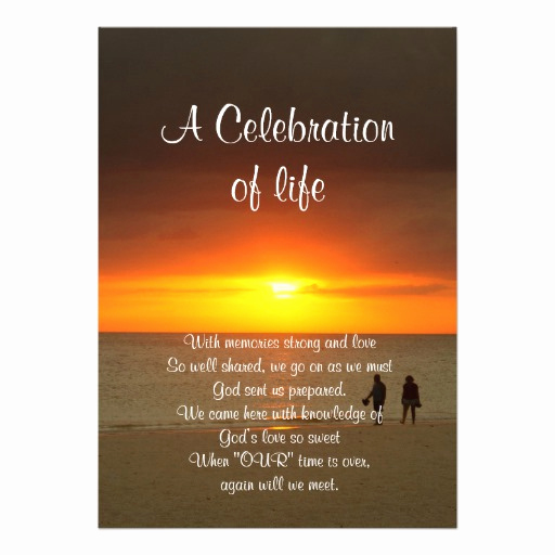 "Celebration Of Life Invitation Wording Beautiful Celebration Of Life Invitation Sunset 5"" X 7"" Invitation"