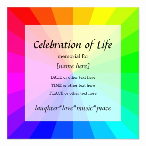 Celebration Of Life Invitation Wording Beautiful Rainbow Celebration Of Life Memorial Invitation