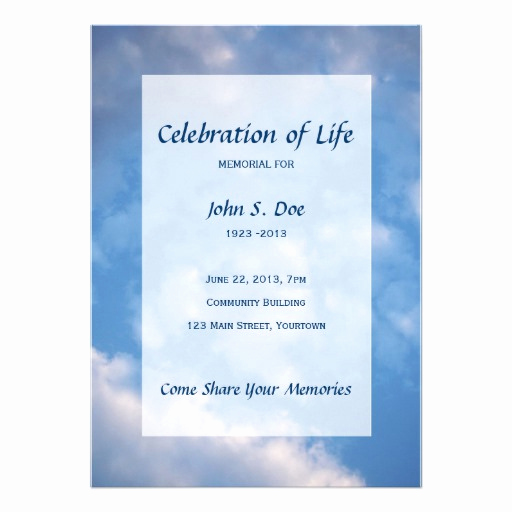 "Celebration Of Life Invitation Wording Best Of Memorial Celebration Of Life Cloud Sky 5"" X 7"